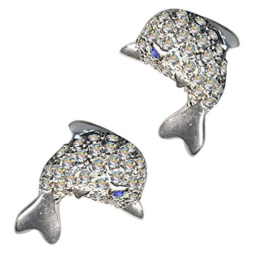 Pendientes de plata de ley 925 con delfín y delfín, color blanco y azul, cristales de estrás, amor, creencia, esperanza, emoción, símbolo, diseño, objeto, color blanco, extravagante, a la moda, claros