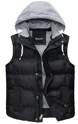 Wantdo Men's Winter Removable Hooded Parka Waistcoat Outwear US Medium (Tag size XXL) Black
