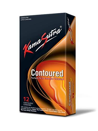 Kama Sutra Condoms, Contoured condoms, Natural latex condoms, lubricated condoms for men (pack of 12)