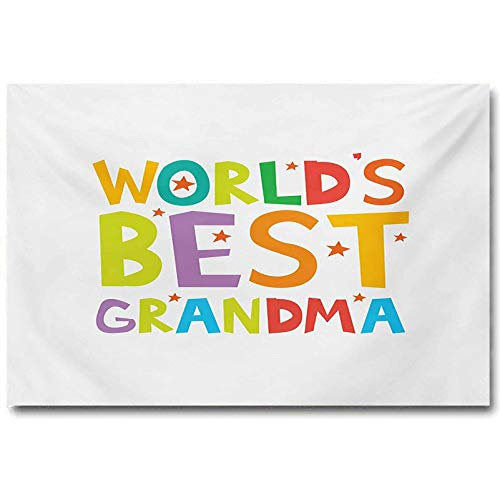 jiyanling Grandma Abstract Wall Art Cartoon Style Lettering Worlds Best Grandma Quote with Stars Colorful Illustration Easter Gifts for Girls Multicolor L16 x H24 Inch
