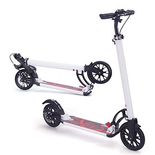 Hou Hexin Trade Scooters Plegables 4 Scooters de Pedal Ajustables en Altura con Grandes Ruedas de PU y Correas 2 Scooters de Rueda adecuados para niños Adolescentes y Adultos (Color : White)