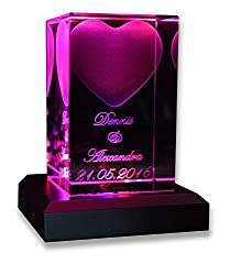 VIP-LASER 3D Glas Kristall Quader Herz mit Zwei Wunschnamen + Datum im Hochformat, Beleuchtung:mit Color Leuchtsockel 5 LED Silber