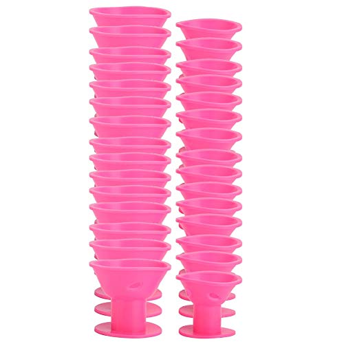 Rouleau à cheveux - 30 pièces bigoudis en silicone Set Hair Roller Hair Curler Styling Hairdressing Tool(rose)