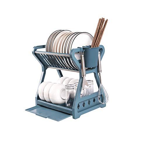 topxingch Estante de drenaje para almacenamiento de cocina, organizador de gran capacidad, doble capa, secado para el hogar, color azul