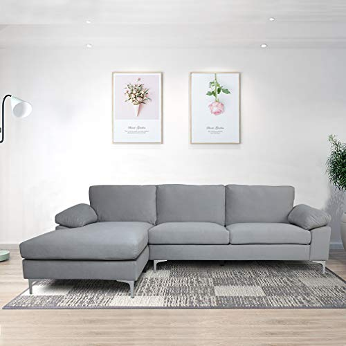 Sectional Couch for Living Room Sectional Sofa with Velvet Fabric and Hard Wood Frame L-Shape Sectional Sofa Couch Grey Sofa
