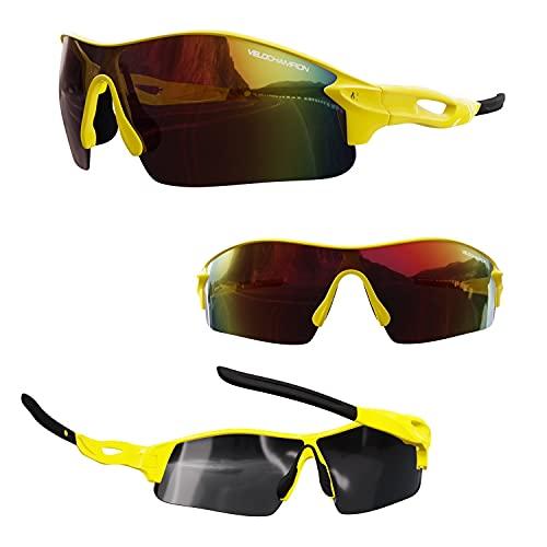 Velochampion Warp Ciclismo Conducción Mtb Gafas de Sol Híbridas Correr Gafas Deportivas Protección Uv400 y 2 Lentes de Repuesto Incluidos (Amarillo)
