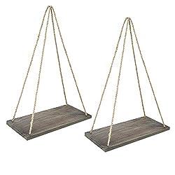 Wood Rope Hanging Floating Shelves Set of 2, Rustic Wood Hanging Shelf with 4 Hooks,Wall Hanging Rope Shelves for Living Room, Bedroom, Bathroom and Kitchen, Brown Shelf