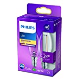 Philips LED Classic Bombilla, 25 W, Vela Filamento E14, Transparente, Luz Blanca Cálida, No Regulable, Pack de 2 Unidades