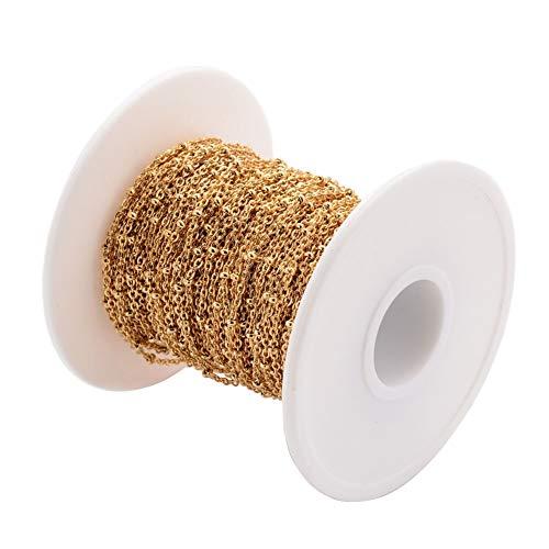 Beadthoven - Cadenas de satélite doradas de 10 m, chapado al vacío 304 de acero inoxidable con cuentas redondas soldadas, pulsera de cuentas para joyería