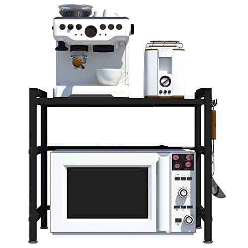 CM67 Estantería extensible para microondas de 2 capas, ahorro de espacio para cocina y almacenamiento, organizador para encimeras de cocina con 3 ganchos