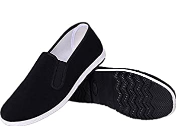 APIKA Chinese Traditional Old Beijing Shoes Kung Fu Tai Chi Shoes Rubber Sole Unisex Black  CHN42  US Men 9/Women 10