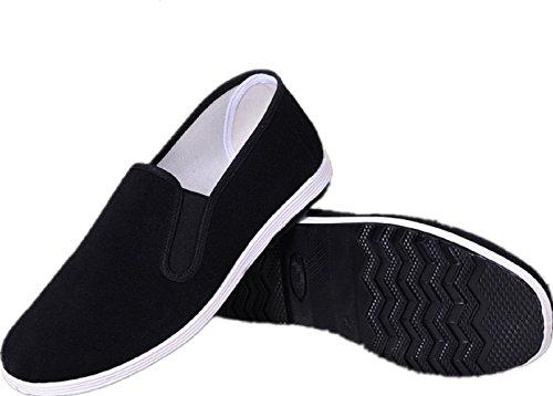 AioTio Zapatos Tradicionales Viejos Chinos de Pekín Kung Fu Tai Chi Zapatos Suela de Goma Unisexo Negro (240mm 38EU)