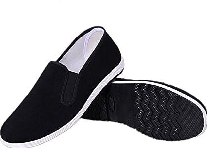 AioTio Zapatos Tradicionales Viejos Chinos de Pekín Kung Fu Tai Chi Zapatos Suela de Goma Unisexo Negro (250mm 40EU)