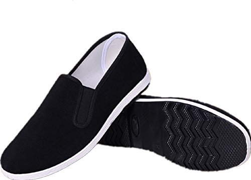 APIKA Chinese Traditional Old Beijing Shoes Kung Fu Tai Chi Shoes Rubber Sole Unisex Black (CHN44 (US:Men 10/Women 11))