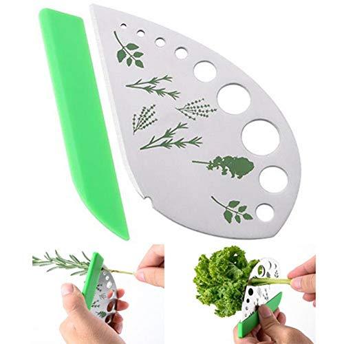 Décapant à Herbes en Feuilles 9 Trous, Outil de décapant pour Feuilles de légumes en Acier Inoxydable, 2 en 1 avec Support de Protection, pour blettes, Chou Vert, thym, Basilic, romarin