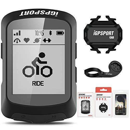 iGPSPORT iGS520 - Computadora de bicicleta (inalámbrica, multiidioma, GPS, con monitor de frecuencia cardíaca, sensor de velocidad de cadencia, combo 2)