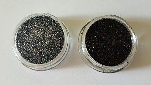 New Nail Art Lot de 2 pots de poudre pailletée grise et noir pailleté poudre poudre paillettes paillettes 3 g