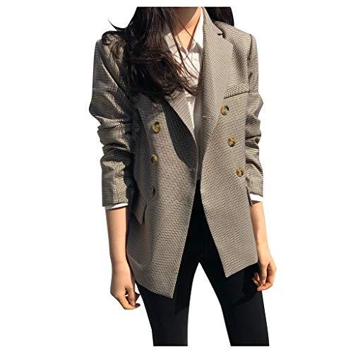 Best Buy! Pumsun Womens Elegant Plaid Printed Long Sleeve Coat Brief Jacket Coat Small Blazer (L, Kh...