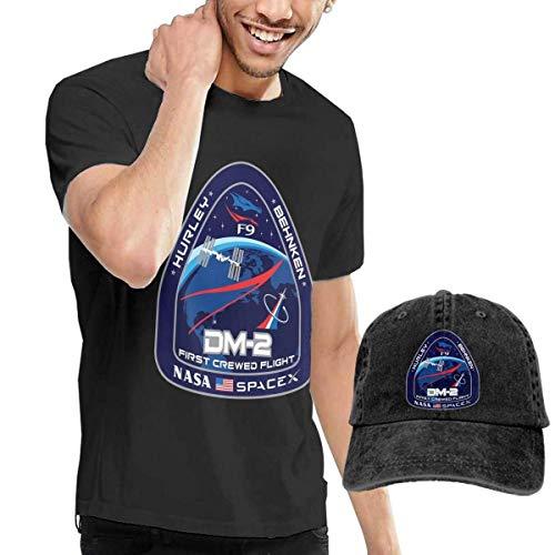 engzhoushi Herren NASA Spacex Dm-2 Kurzarm-T-Shirt mit Hut 2-teiliges Set