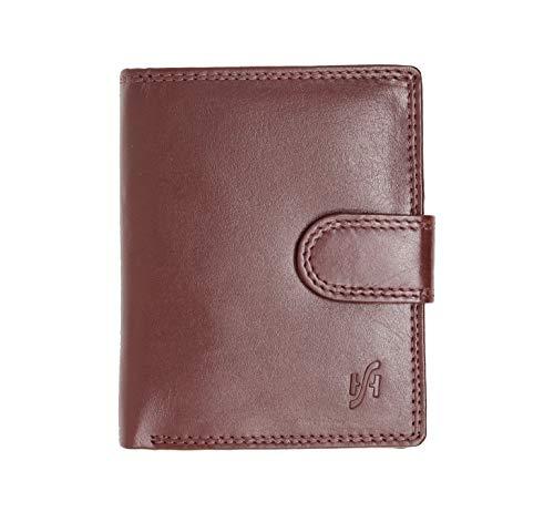 STARHIDE Uomo morbida portafoglio in vera pelle con zip tasca portamonete & finestra Carta d'identità, scatola regalo # 1080 (Marrone) Brown