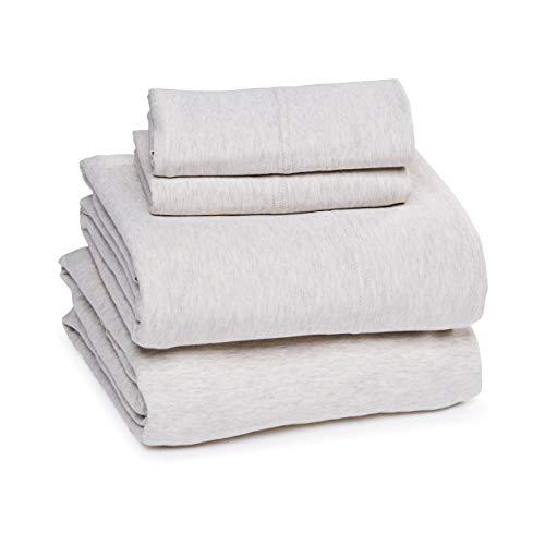 Amazon Basics Cotton Jersey Bed Sheet Set - King, Oatmeal