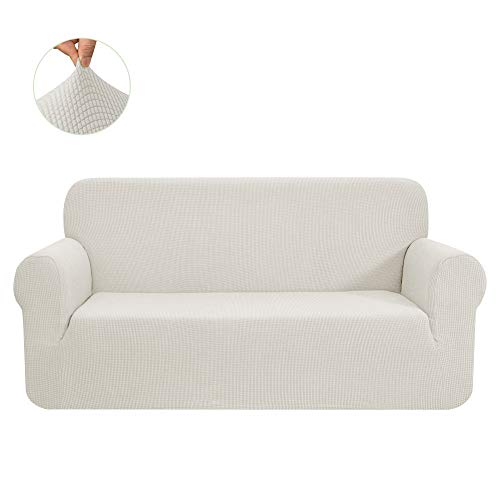 CHUN YI Stretch Sofa Slipcover 1-Piece Couch Cover Furniture Protector Arm Chair Loveseat Coat Soft with Elastic Bottom, Checks Spandex Jacquard Fabric(Large,Ivory White)