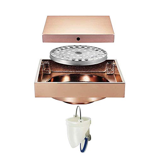 Square Drain for Shower, Floor Drain with Removable Plate Pattern Cover Non Slip,Brass Shower Drain Base for Kitchen Bathroom Basement,Includes Hair Strainer,Siphontype