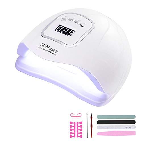 150W Lámpara LED UV Uñas, Lámpara Secador de Uñas LED UV Gel Esmalte de Uñas Curado Luz Máquina Pantalla LCD Táctil Sensor Automático, Con temporizador 10s/30s/60s/99s Para Manicura/Pedicure Nail Art