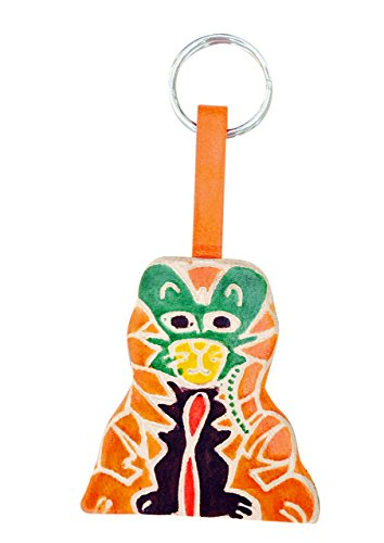Sitara Collections SC5517 Cruelty-Free Leather Keychain, Orange Tiger