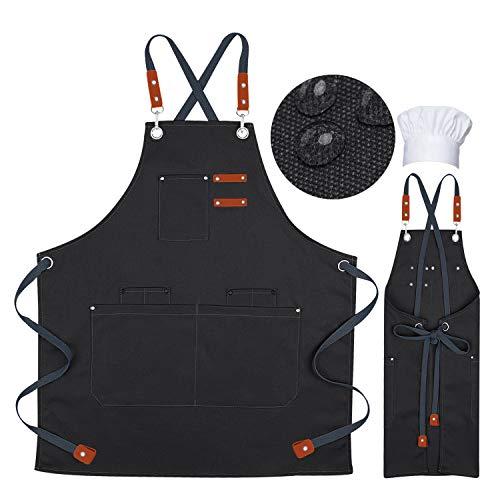 HUOFU - Delantal profesional con bolsillos, delantal de chef para hombres, delantal de cocinero gratuito, sombrero de chef diseñado...