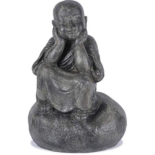 KOH DECO Statue Moine Penseur 80 cm - Gris