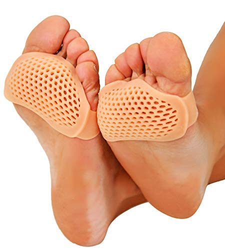 HOME-X Gel Cushion for Ball of Foot, Silica Gel Metatarsal Foot Pads for Pain Relief, 3' L x 2 ¼ ' W x ¼ ' H, Nude