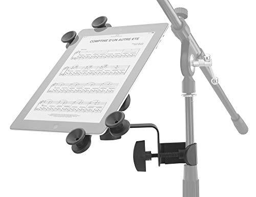 Pronomic UTH-20 - Soporte universal para tablet (apto para todos los tamaños, con abrazadera para trípode, regulable), color negro