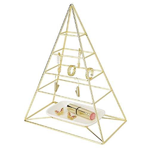 Traje de skate ZXS Schmuck kastenförmigen Pyramide, mit Weiß-Behälter für Halsketten, Armbänder, Ohrringe und Ringe, Farbe: Gold