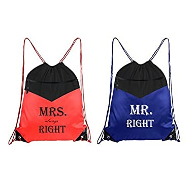Set of 2 Drawstring bag Mr and Mrs Always Right Couple Wedding Gift