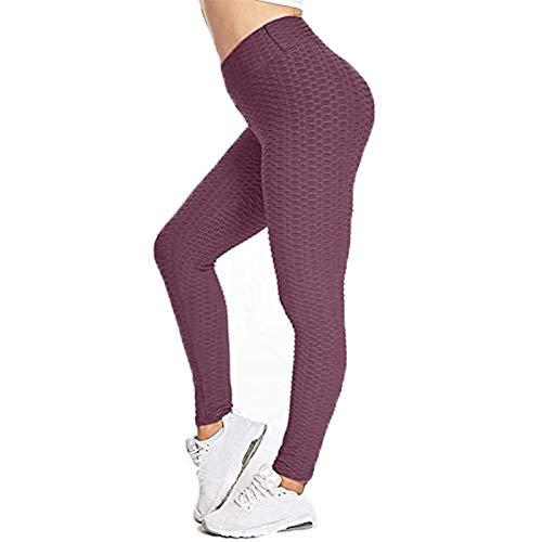 TIK Tok Leggings, Women High Waist Butt Lifting Yoga Tights Pants, Bubble Hip Booty Elastic Butt Lifting Leggings, Ruched Texture, Seamless Leggings, Anti Cellulite (Bean Paste, M)