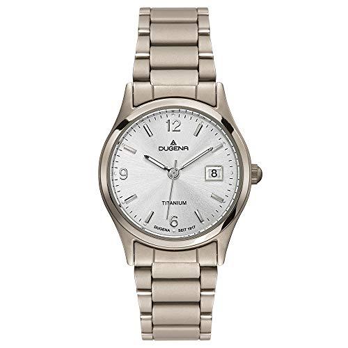 DUGENA Damen-Armbanduhr 4460332 Semper, Quarz, silbernes Zifferblatt, Titangehäuse, Mineralglas, Titanarmband, Drückerfaltschließe, 5 bar