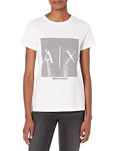 Armani Exchange Womens T-Shirt, Optic White/Black, L