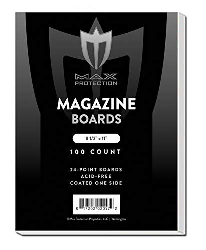 300 MAGAZINE Size White Comic Backing Boards by Max Pro 85 x 11 - Protect your MAGAZINES From Bending