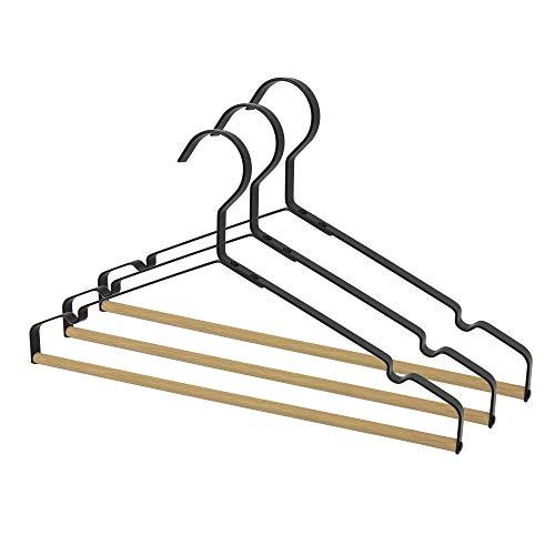 connox Collection Metall-Kleiderbügel mit Holzsteg und Rockkerben (3er-Set), schwarz, Moderner Kleiderbügel ideal zum Aufhängen von Jacken, Hosen, Röcken, Blusen und Pullover