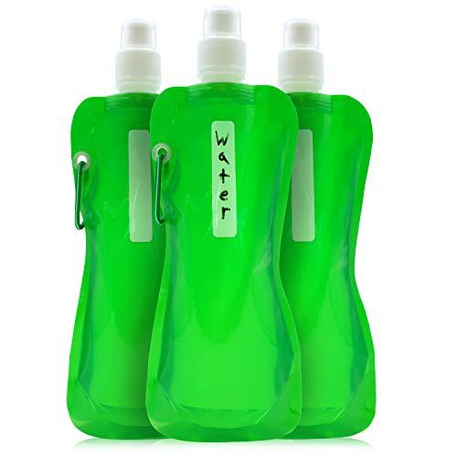 Juvale Faltbare Trinkflasche (6 Stück) – Für je 470 ml, Faltbar, BPA-frei - Mit Karabiner zum Anbringen an Gürtel oder Rucksack - Auf Reisen, beim Camping, Wandern - Grün - 26,7 cm x 11,9 cm