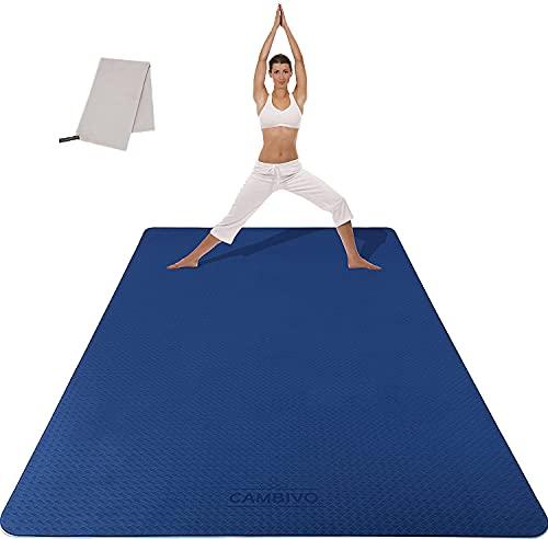 CAMBIVO Sportmatte Fitnessmatte Rutschfest, Gymnastikmatte Yogamatte XXL (183cm x 122cm x 6mm), Trainingsmatte aus TPE mit Handtuch für Sport, Yoga,...