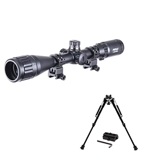 Pinty 4-16X40 Rifle Scope AO Red Green Blue Illuminated Mil Dot with Flip-Open Covers & Rifle Tactical Bipod Adjustable 9-13 Inch w/Spring Return Adapter Picatinny