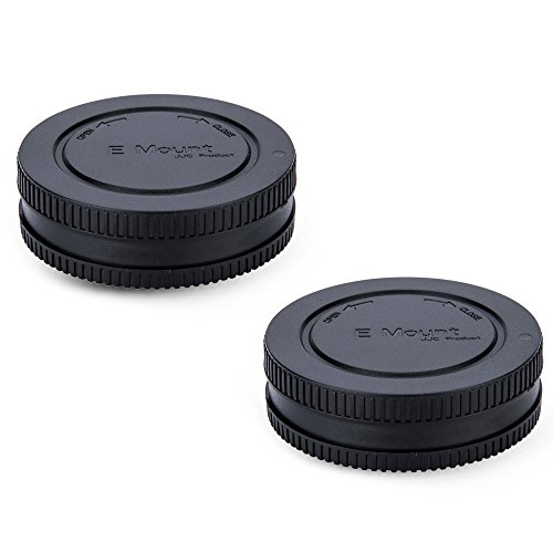 2 Pack JJC E-Mount Body Cap and Rear Lens Cap Kit for Sony A6000 A6100 A6300 A6400 A6500 A6600 A5100 A5000 A7C A7 III II A7R IV III II A7S III II A9 NEX-7 NEX-6 and More Sony Mirrorless Camera & Lens