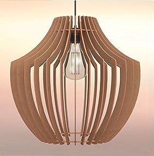 Lampadario rustico moderno in legno Paralume - Design Vaso - Dimens. extra
