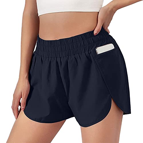 mjhGcfj Summer Workout Shorts Womens Side-Slit Shorts Athletic Elastic Waist Running with Pockets Quick-dry Shorts Comfy Navy