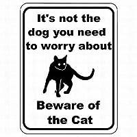 金属サイン 猫のサインに注意する必要がある犬ではありません 面白いブリキのサイン ポスター 装飾品質 アルミニウム (1個セット)