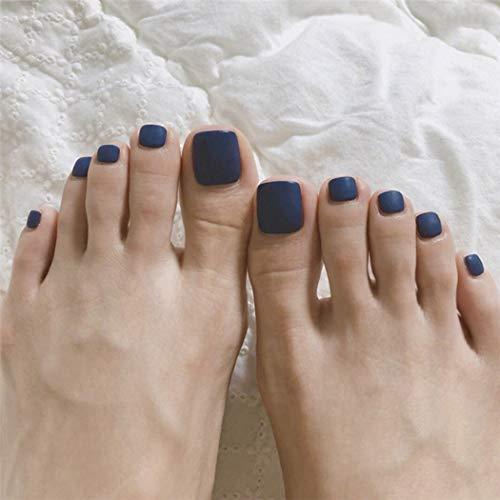 Yienate Uñas postizas para dedo del pie Chic Exquisito Nupcial Uñas falsas Azul oscuro esmerilado para dedos de los pies Cubierta completa Puntas de uñas Uñas de pies 24 piezas