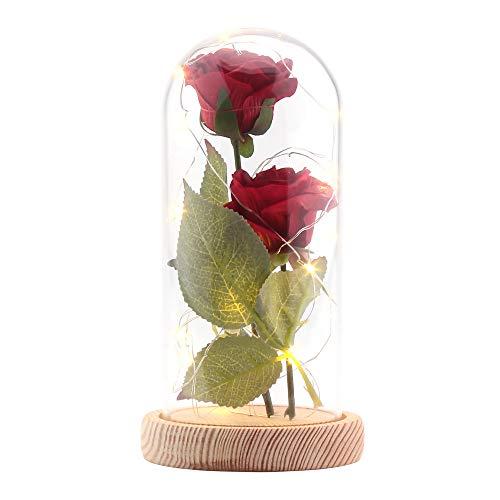 ALLOMN Rosa Seta Artificiale Rosa Scintillio con Paralume in Vetro 20 LED Striscia Grande Regalo per San Valentino Festa della Mamma Compleanno di Natale (Rosso)