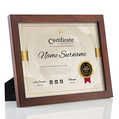 RPJC Document Frame Certificate Frames Made of Solid Wood High Definition Glass and Display Diplomas 8.5x11 Inch Standard Paper Frame with Stand Brown
